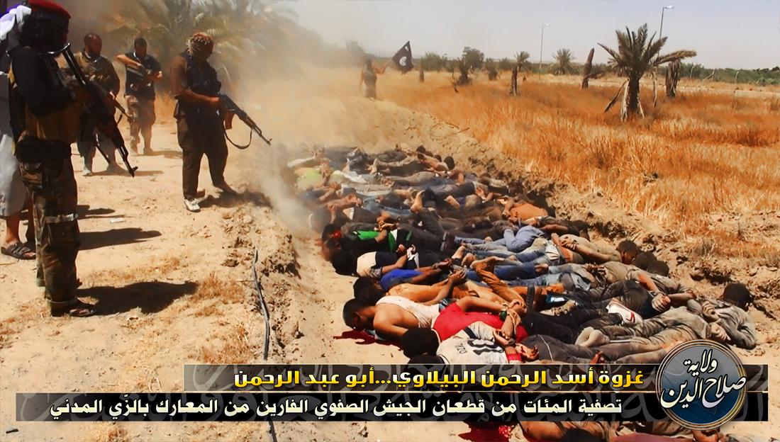 Photo d'exécution diffusée sur Internet par l'EIIL après la prise de Tikrit, dans le nord de l'Irak via https://justpaste.it/fusgi